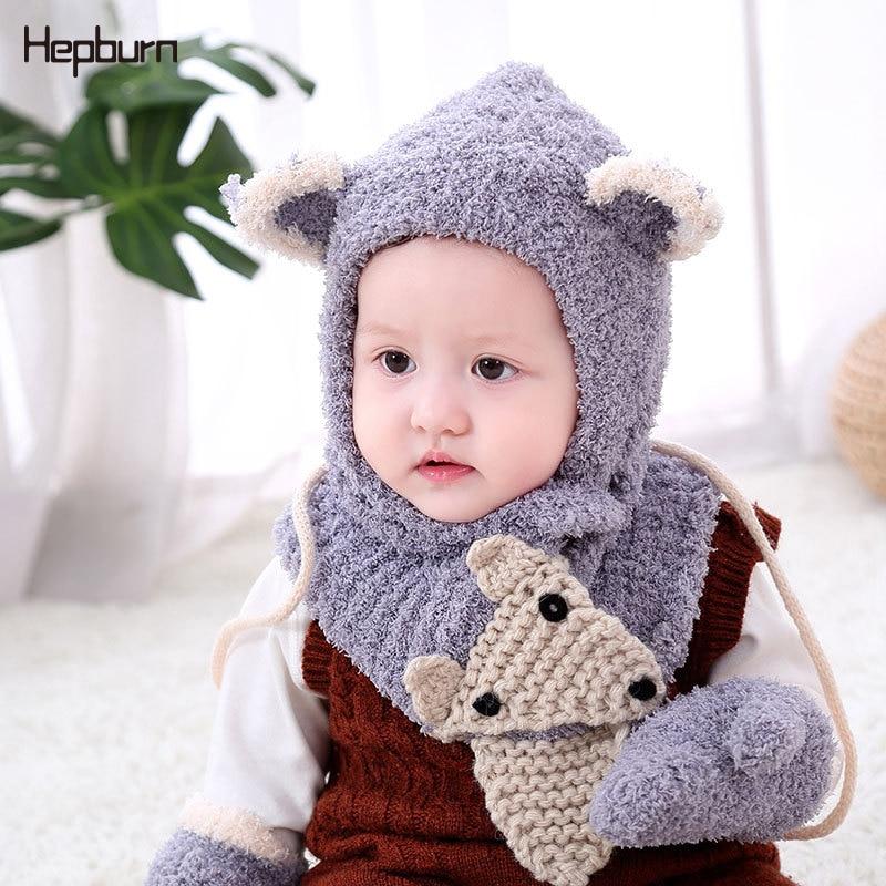 Hepburn Brand Hand knitting Winter Thicken Hat scarf gloves three-piece for Baby Kids Children Beanie Cap Skullies For boy Girl