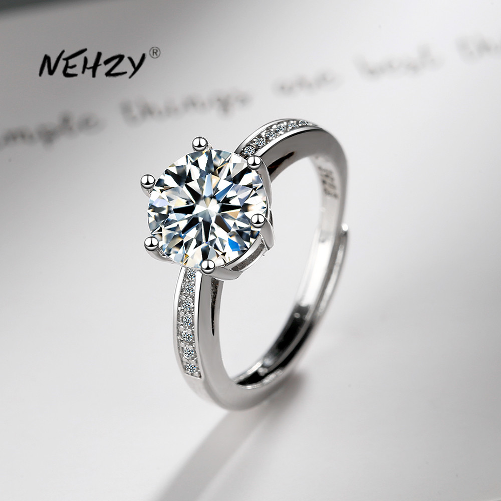 NEHZY 925 Sterling Silver New Woman Fashion Jewelry High Quality Crystal Zircon Simple Retro Six Prong Adjustable Opening Ring
