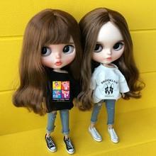 где купить 2 put/set blyth doll White clothes T-shirt + jeans for 1/6 doll, clothes Accessories for Barbie clothes pullip dolls Blyth дешево