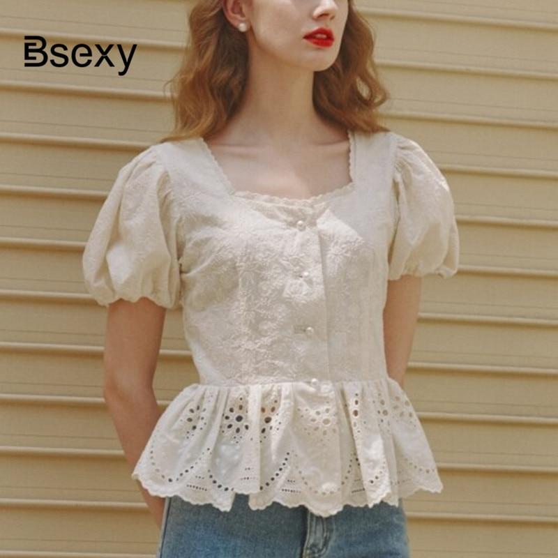 Ccrop Top femmes blanc Blouse 2019 Style coréen découpe col carré broderie à manches courtes Blouse dames tunique coton chemise