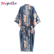 Boho Women Blouses Peacock Floral Print Beach Shirts Chic Retro Japanese Sashes Long Kimono Women V-Neck Side Slit Women Shirts plunge floral print side slit jumpsuit
