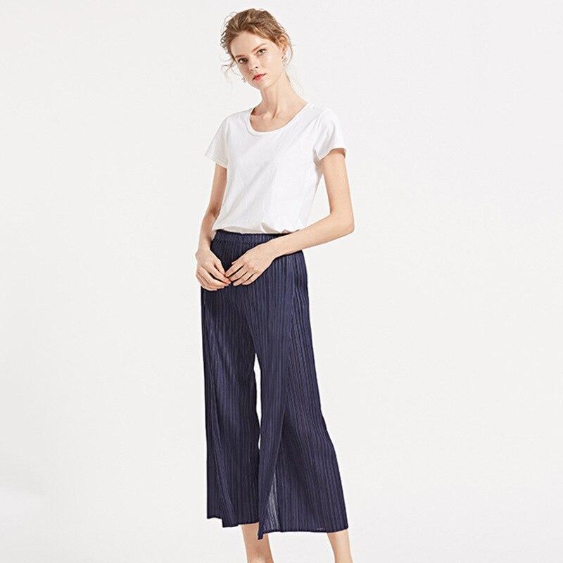 TVVOVVIN Color sólido cintura baja banda elástica plisada pantalones partidos Mujer Pantalones rectos moda 2019 otoño invierno nuevo D339 - 2