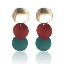 Elegant Round Metal Unique Long Statement Earrings For Women 2018 New Geometric Alloy Hanging Female Fashion Jewelry
