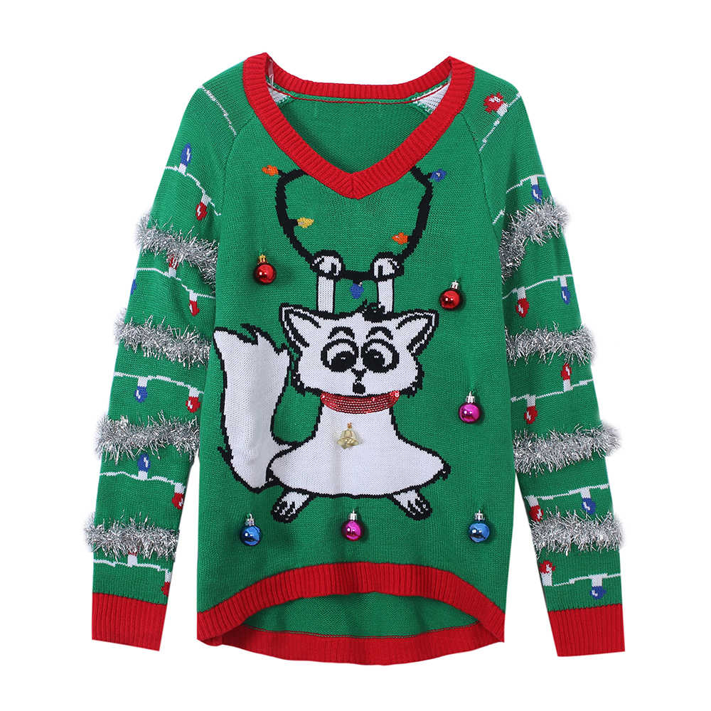 LED Light-up Knitted Ugly Jumper Cartoon Cat Sweaters Santa Claus Xmas Patterned Christmas Sweaters Tops for Men Women Pullovers