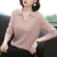 Eleganti maglioni lavorati a maglia in Cashmere rosa per donna autunno Office Lady Bottom Shirt maglie a manica lunga pullover maglione Pull Femme