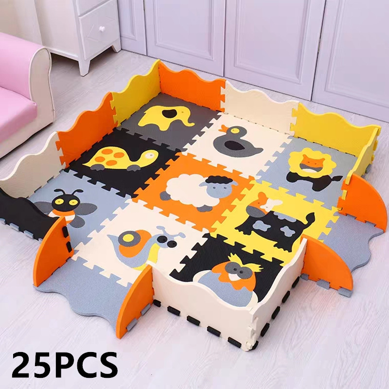 25Pcs Children's Mat EVA Foam Crawling Rug Soft Floor Mat Puzzle Baby Play Mat Indoor Floor Developing Playmat With Fence
