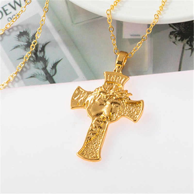 MD Kitô Giáo Chúa Giêsu Chéo Dây Chuyền Mặt Dây Chuyền Vàng Bạc Cầu Nguyện Choker Nam Vòng Cổ Trang Sức подвеска