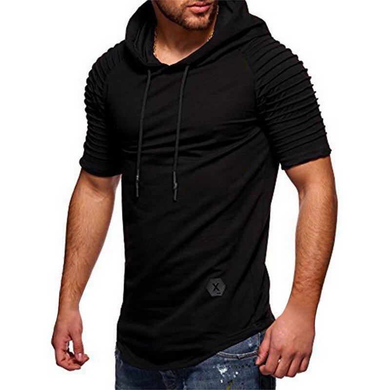 LOOZYKIT Men TShirt 2019 Summer Fashion Hooded Sling Short-Sleeve Tee Male T-Shirt Slim Male Tops Camisa Masculina Plus Size 3XL