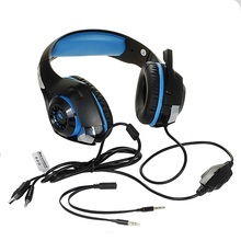 GM-1 Comfortable Gaming Headset for One PS4 PC Tablet Cellphone Stereo LED Backlit Headphone with Micphone Blue