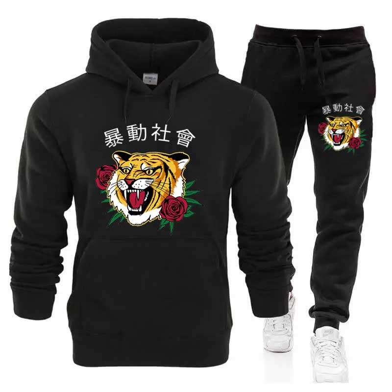 Harajuku Men's Sets Wholesale Thick Hoodie+Pants Tiger Sport Suits Casual Sweatshirts Tracksuit Sportswear Gyms Fitness Trouser