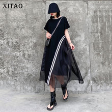 XITAO Striped Mesh Dress Fashion New Women Pocket Pullover Goddess Fan Casual Pl