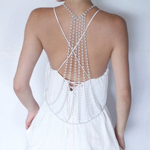 Sexy Backdrop Artificial Pearl Back Body Chain Necklace Beach Jewelry Wedding Backless Jewelry Accessories JS26(China)