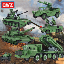 QWZ Military Series Tank Rockets Missile Model Legoes Building Blocks Toys Educational Bricks For Children Toys  Gifts lepin 31001 822pcs egypt pharaoh series children educational scorpion pyramid building blocks bricks toys model gifts 7327