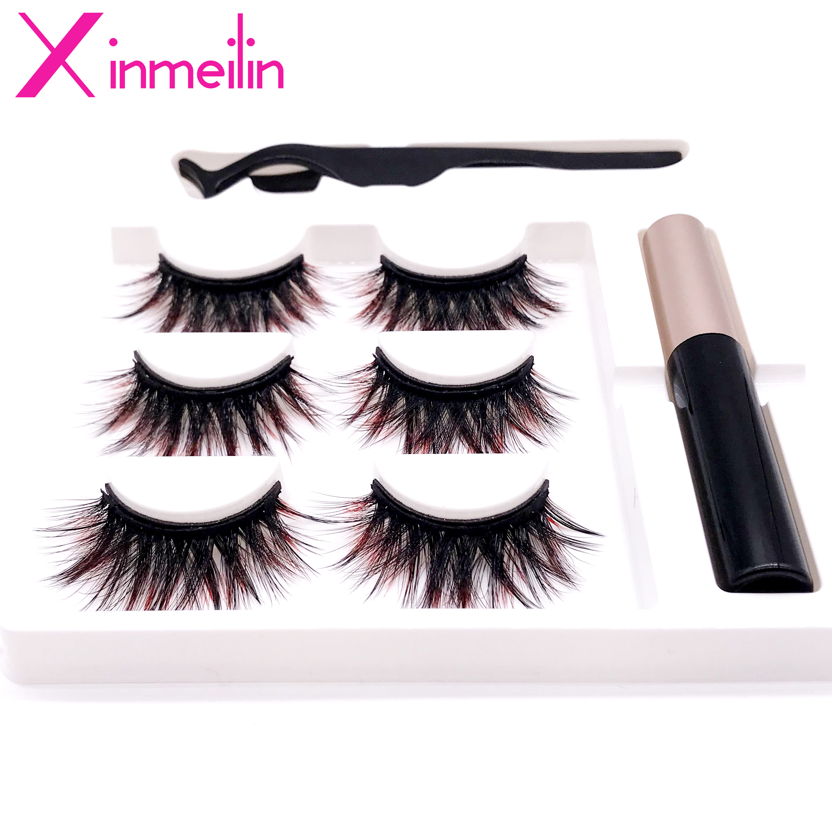 Hot 3 Pairs 6D Gradient Color Magnet Fake Eyelash Set Multicolor Optional Waterproof Long Lasting Magnetic Eyelash Extension Kit