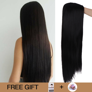 Image 1 - MUMUPI 26inch Black Color Long Silky Straight Hair Wig Gluless Heat Resistant Natural Middle Part Synthetic Wig for Black Women