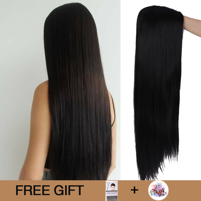 MUMUPI 26inch Black Color Long Silky Straight Hair Wig Gluless Heat Resistant Natural Middle Part Synthetic Wig for Black Women