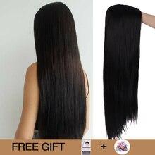 MUMUPI Peluca de cabello lacio sedoso largo de Color negro de 26 pulgadas, resistente al calor, peluca sintética de parte media Natural para mujeres negras
