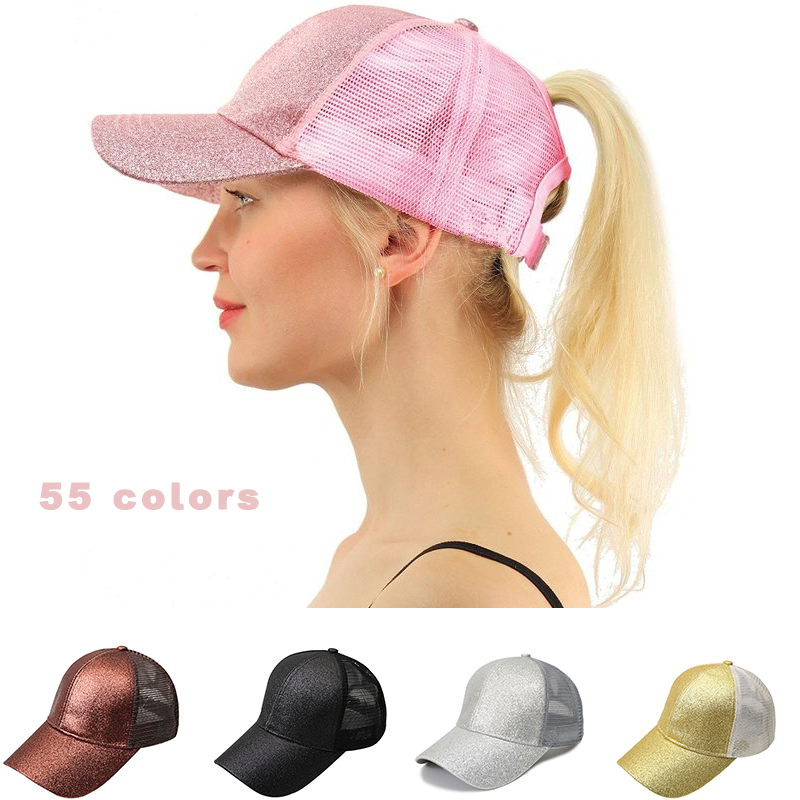 <font><b>Glitter</b></font> <font><b>Ponytail</b></font> <font><b>Baseball</b></font> <font><b>Cap</b></font> <font><b>Women</b></font> Snapback Summer Mesh Hat Female Messy Bun Hats Casual Adjustable Streetwear Hip Hop <font><b>Cap</b></font> 2020 image