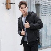 1pcs Mens Plus size down jacket 2019 Winter White Duck Down Hooded Splicing plaid Keep warm Jacket Men Skinny jackets Coats
