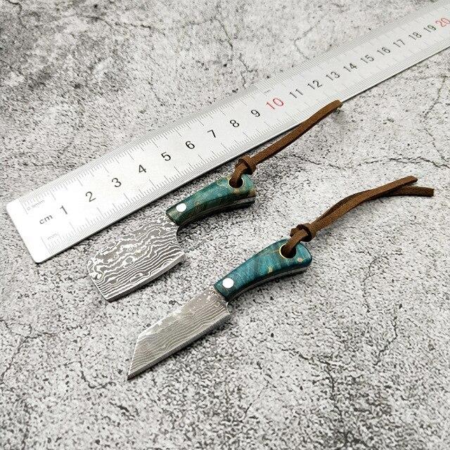 دروبشيب مصغرة دمشق الصلب شفرة مثبتة سكين خشبي مقبض سكين جيب EDC مفتاح مشبك السكاكين أداة اليد مع سكين كم
