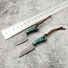 Mini faca de lâmina fixa de aço de damasco, p, cabo de madeira, de bolso, edc, fivela, chave, ferramenta manual, com faca, dropship