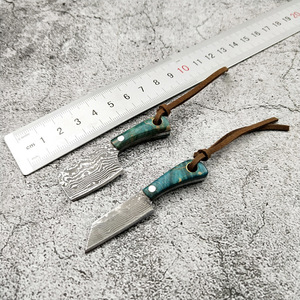 Image 1 - Mini faca de lâmina fixa de aço de damasco, p, cabo de madeira, de bolso, edc, fivela, chave, ferramenta manual, com faca, dropship