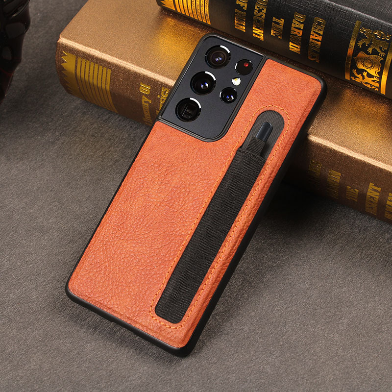 Stylus S-Pen Socket S21U Spen Slot Luxury Camera Protection Leather Case For Samsung Galaxy S21 Ultra G9980 G998U G998D G998B