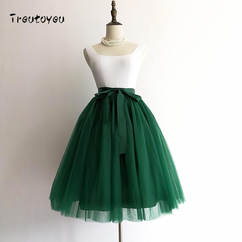 6 Layers 65cm Black Pleated Skirt Sexy Midi Tulle Skirt High Waist Full Lining Adult Tutu Korean Style Women Jupe Femme Faldas