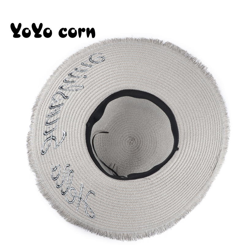 YOYOCORN Handmade Weave letter Sun Hats For Women Black Ribbon Lace Up Large Brim Straw Hat Outdoor Beach hat Summer Caps in Women 39 s Sun Hats from Apparel Accessories