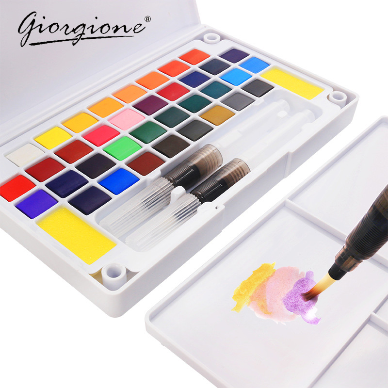 Giorgione Quality Solid Pigment Watercolor Paints Set With Water Color Portable Brush Pen For Professional Painting Art Supplies