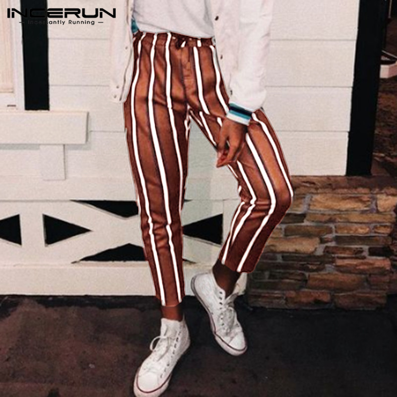 INCERUN Fashion Striped Pants Men Joggers Elastic Waist Casual Hip-hop Streetwear Straight Trousers Men Chic Fitness Pants 2020