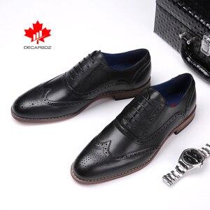 Image 2 - DECARSDZ גברים מלא גרגרים עור אמיתי נעלי גברים מותג אוקספורד גברים נעלי אופנה חדש יוקרה שמלת נעלי גברים פורמליות נעליים