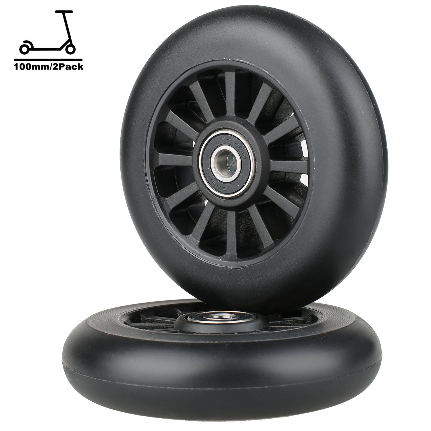 Scooter Wheels 100mm Pro Kick Scooter Wheels Replacement Smooth Bearing Installed  Plastic Core 100mm ABEC9 Scooter Wheels 2pcs