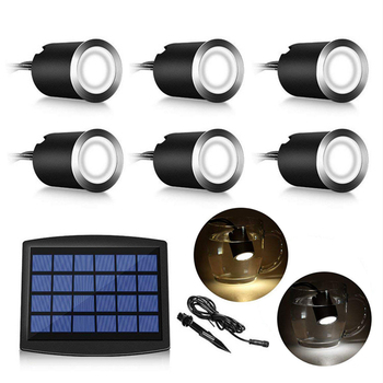 12pcs 3w free shiping ip67 outdoor waterproof round led step lights led underground light dc12v led deck lights Solar Led Deck Light Outdoor Waterproof Underground Lights Solar Powered Ground Disk Lights for Pathway Step Stair Lawn Garden
