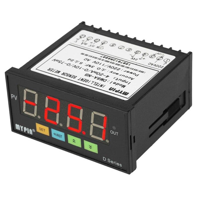 EASY-mypin Digital Sensor Meter Multi-Functional Intelligent Led Display 0-75Mv/4-20Ma/0-10V Input 2 Relay Alarm Output DM8A-NB