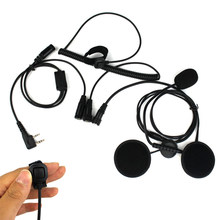 Earpiece Helmet Headset For BAOFENG UV5 BF-480 490 Dual speakers PTT For communication 2 ping(China)