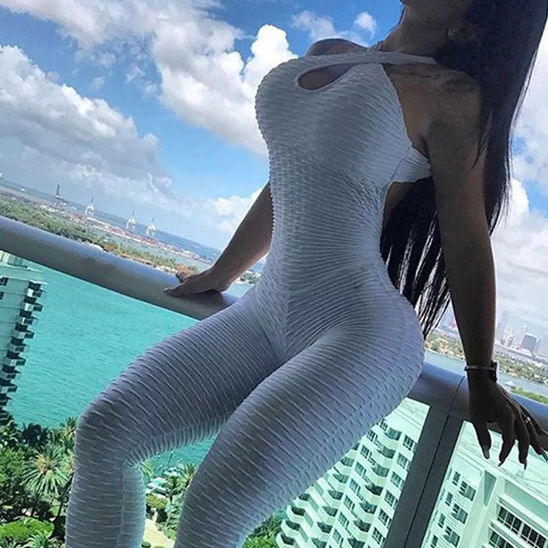 2021 Sexy Halter Women's Tracksuit Yoga High Waist Play suit Slim Sport Backless Top Running Sportswear Pants Push up Jumpsuit 4