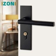 IZONI-manija de aluminio para puerta de habitación Interior, manija Simple y moderna, Color negro