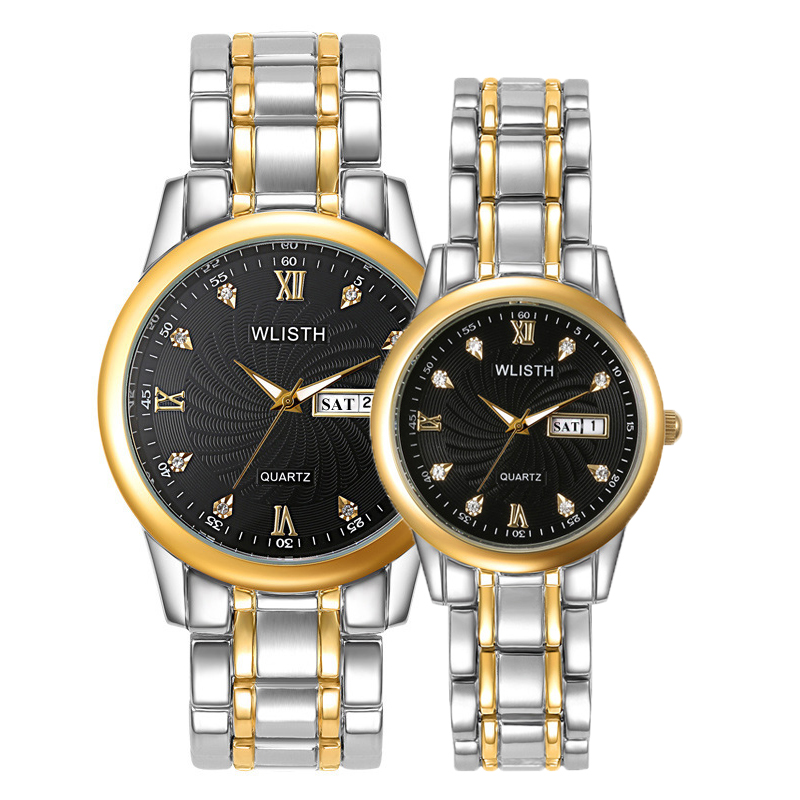 WLISTH Brand New Quartz Wristwatch Man And Woman Couple Watch Classic Diamond Dial Dual Calendar Luminous Lovers Watches 1 Pair