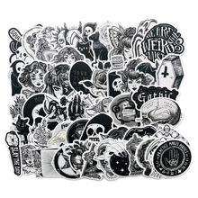 50 Pcs Black and White Gothic Style Girl and Skull Stickers Graffiti Sticker for Laptop Luggage Car Styling Guitar