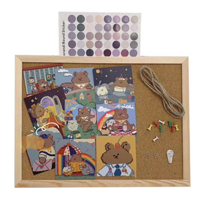 Cork Wood Wall Hanging Message Bulletin Board Frame Notice Note Memo Board for Home Office Shop School