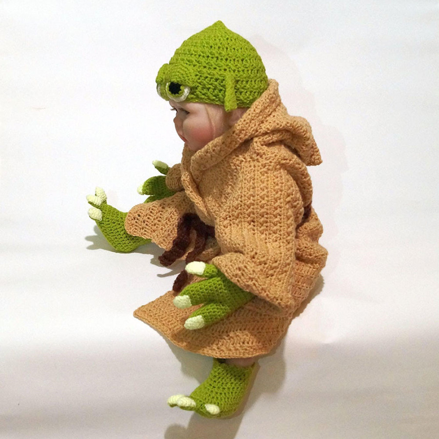 Yoda Style Newborn Infant Baby Photography Prop Crochet Knit Costume Set Handmade Toddler Cap Outfits for Baby Shower Gift (6)
