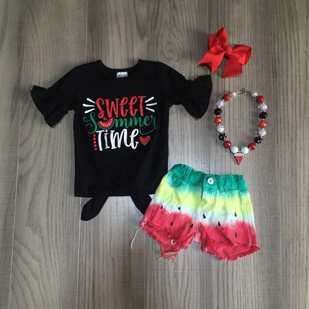 Baby Girls Summer Outfits Girls Black Top Watermelon Tie Dye Jeans Shorts Girl Outfits With Accessories