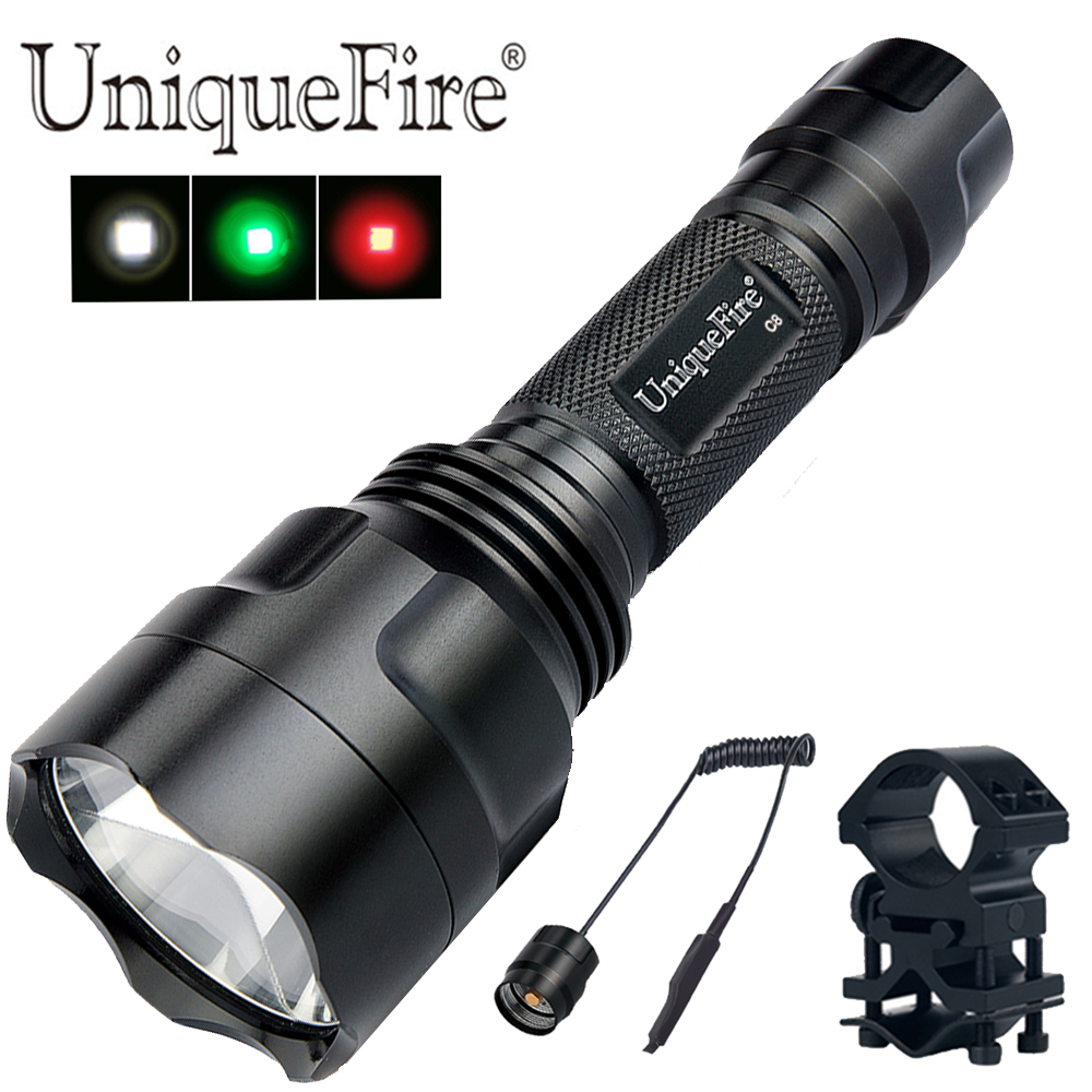 UniqueFire C8 Flashlight XPE LED Portable Powerful Torch 3 Modes Lamp with Barrel Mount, Tail Switch