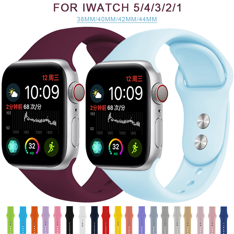 Soft Sports Watch Silicone Band Watch For Apple 4 3 2 1 38 MM 42 MM Breathable Bracelet For Iwatch Series 5 40mm 44mm Strap