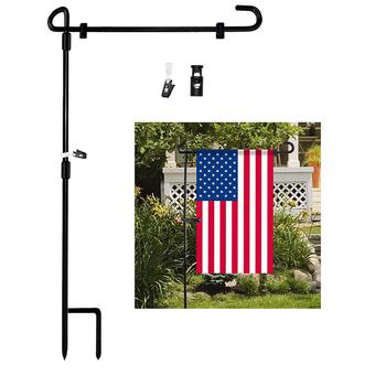 Flaga do ogrodu stojak flaga do ogrodu słupek na flagę uchwyt Banner Flagpoel na zewnątrz do ogrodu na trawnik ogród na święto dziękczynienia flaga do ogrodu rama tanie i dobre opinie Iron Garden Flag Stand Black 34 3 x 15