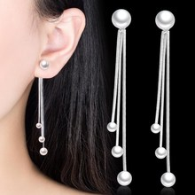 NEHZY 925 Sterling Silver New Women's Fashion Jewelry High Quality Pearl Exaggerated Long Tassel Simple Rear Hanging Earrings