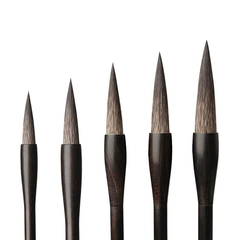 5pcs Calligraphy Brush Set Mouse Whisker Brush Pen Set Caligrafia Chinese Painting Official Script Writing Brush Tinta China