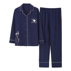 Image 2 - Azul escuro feminino outono & inverno 100% algodão pijama terno manga longa simples soild solto casa terno mais tamanho pijamas conjunto xl xxl xxxl
