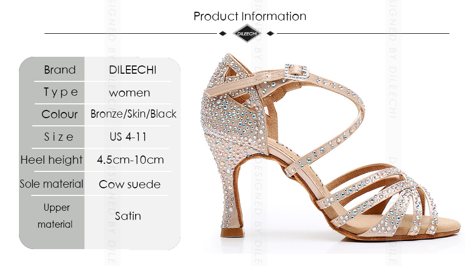 DILEECHI Women Party Dance Shoes Satin Shining rhinestones Latin Dance Shoes Salsa Dance Shoes Square dance shoes